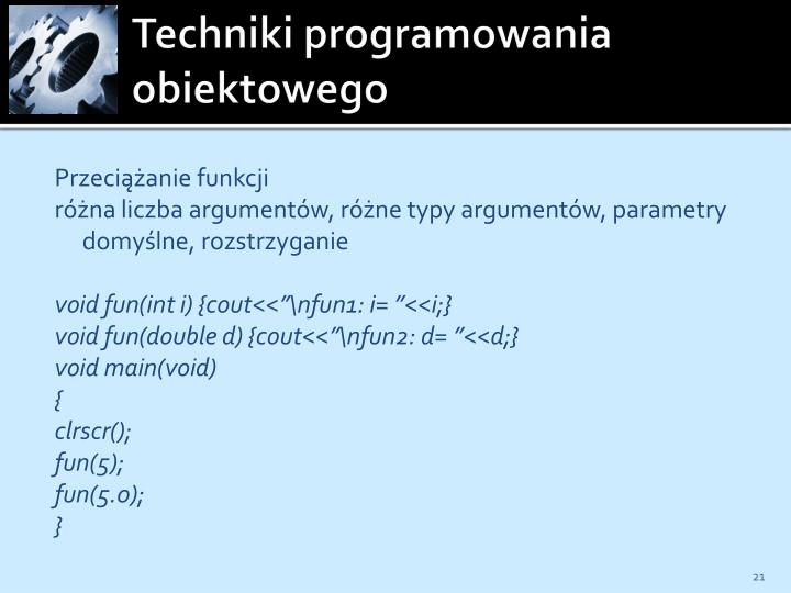 Techniki programowania obiektowego