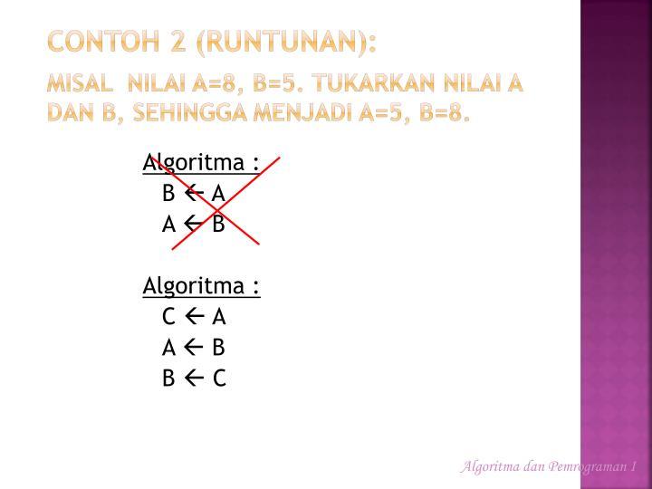 Contoh 2 (runtunan):