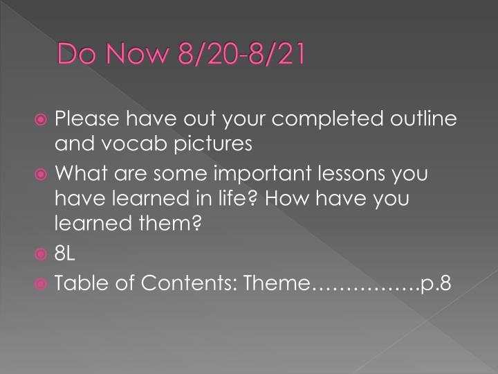 Do Now 8/20-8/21