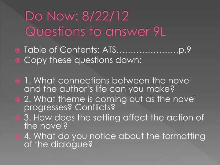 Do Now: 8/22/12