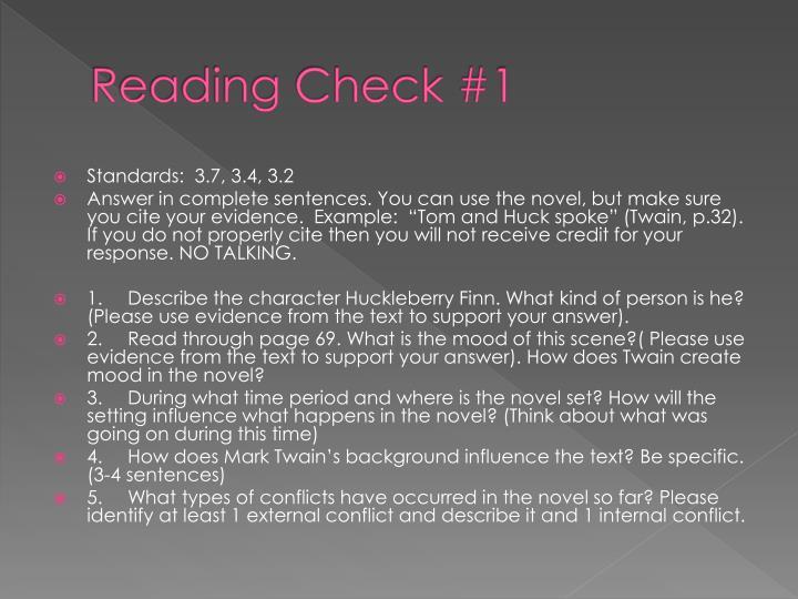 Reading Check #1