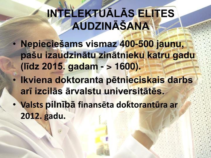 INTELEKTUĀLĀS ELITES AUDZINĀŠANA