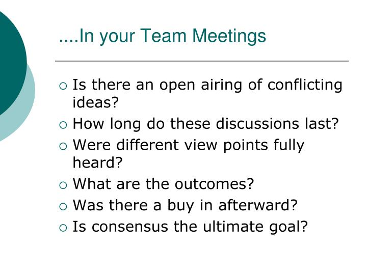 ....In your Team Meetings