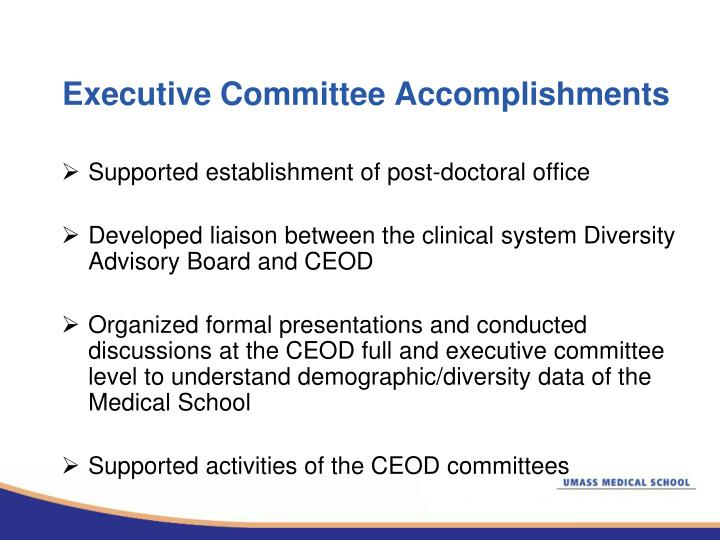 Executive Committee Accomplishments