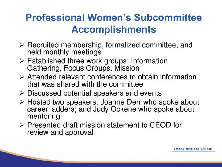 Professional Women's Subcommittee Accomplishments