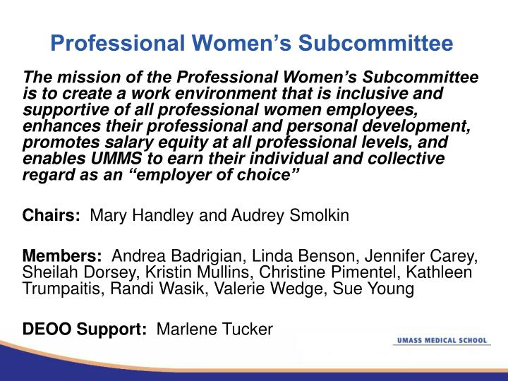 Professional Women's Subcommittee