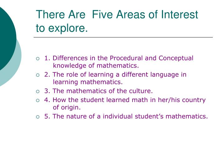There Are  Five Areas of Interest                         to explore.