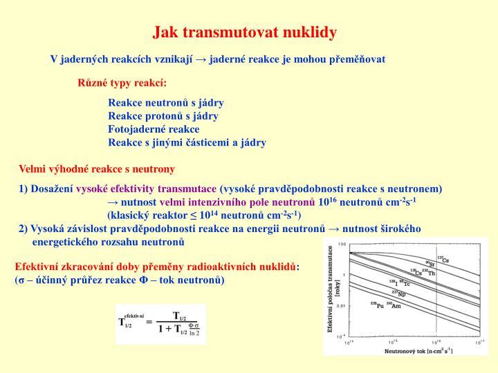 Jak transmutovat nuklidy
