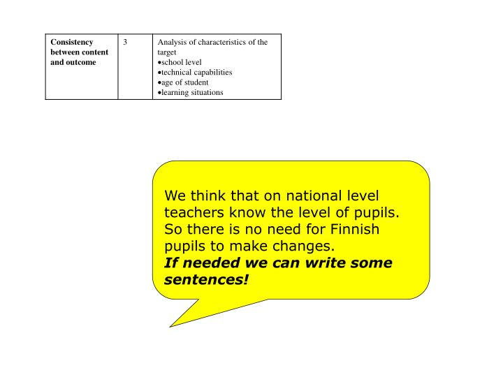 We think that on national level       teachers know the level of pupils.