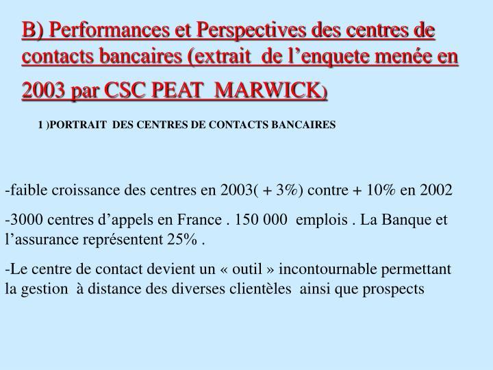 B) Performances et Perspectives des centres de contacts bancaires (extrait  de l'enquete menée en 2003 par CSC PEAT  MARWICK