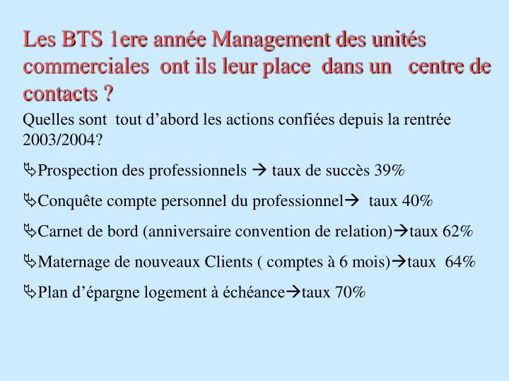 Les BTS 1ere année Management des unités commerciales  ont ils leur place  dans un   centre de contacts ?