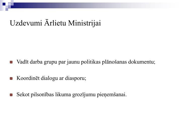 Vadīt darba grupu par jaunu politikas plānošanas dokumentu;