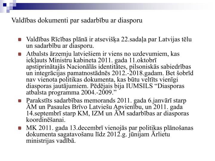 Valdības dokumenti par sadarbību ar diasporu