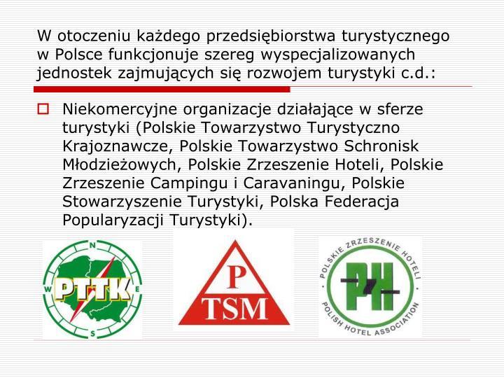 W otoczeniu każdego przedsiębiorstwa turystycznego w Polsce funkcjonuje szereg wyspecjalizowanych jednostek zajmujących się rozwojem turystyki c.d.:
