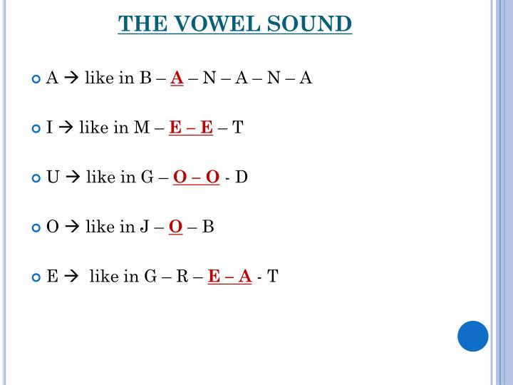 THE VOWEL SOUND
