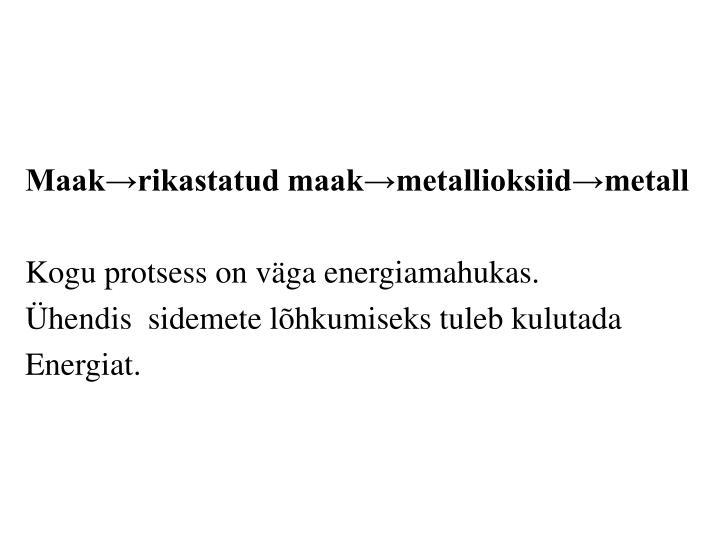 Maak→rikastatud maak→metallioksiid→metall