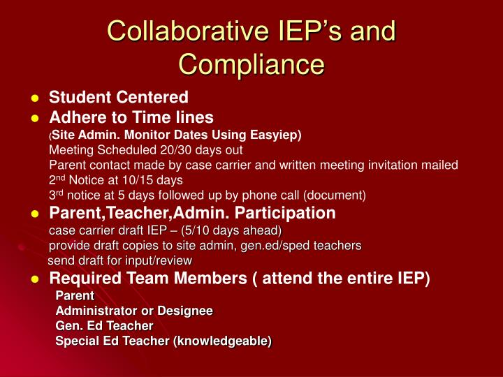 Collaborative IEP's and Compliance