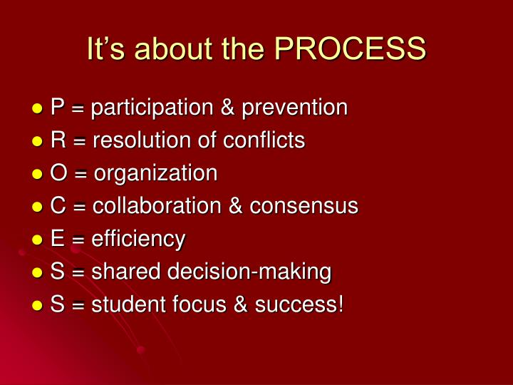 It's about the PROCESS