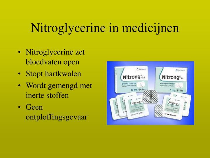Nitroglycerine in medicijnen