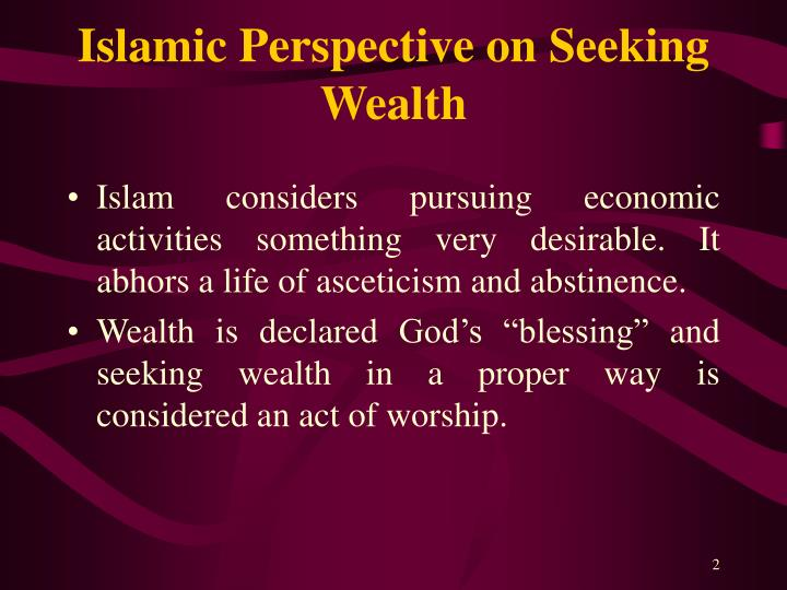 Islamic perspective on seeking wealth