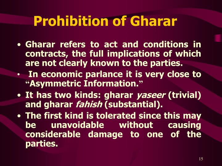 Prohibition of Gharar