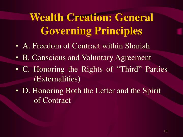 Wealth Creation: General Governing Principles