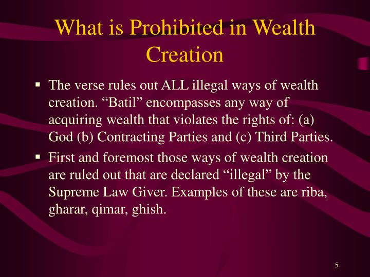 What is Prohibited in Wealth Creation