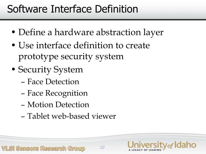 Software Interface Definition