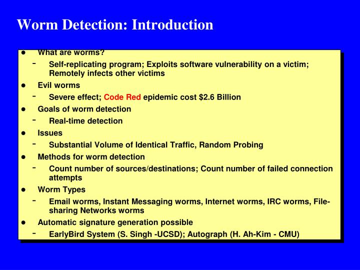 Worm Detection: Introduction
