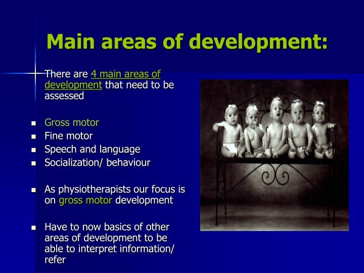Main areas of development: