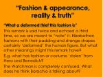 fashion appearance reality truth