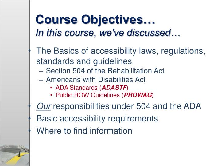 Course Objectives…