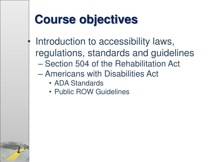 Course objectives