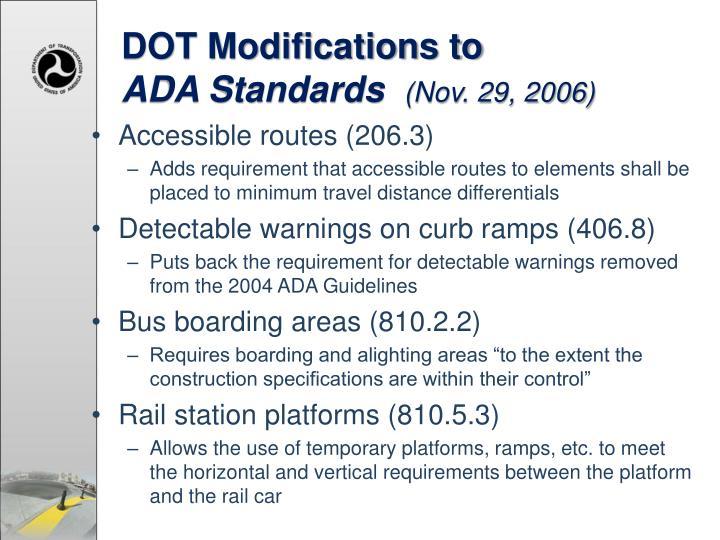 DOT Modifications to
