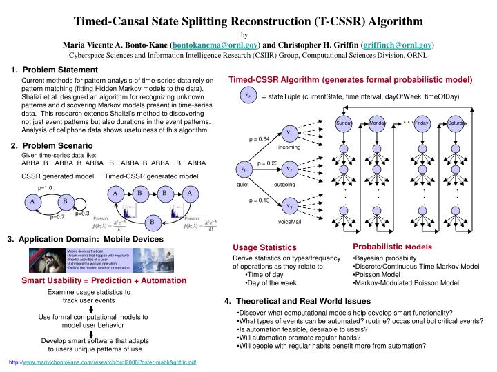 Timed causal state splitting reconstruction t cssr algorithm
