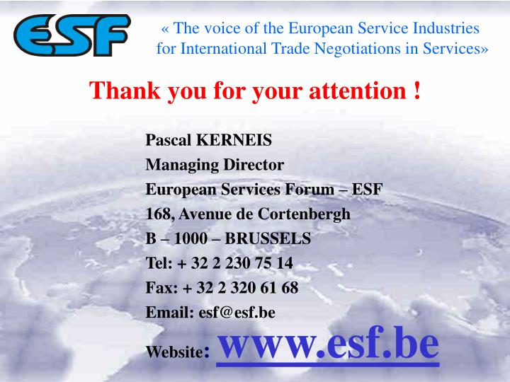 « The voice of the European Service Industries