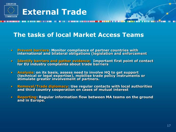 The tasks of local Market Access Teams