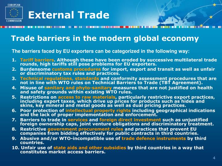 Trade barriers in the modern global economy