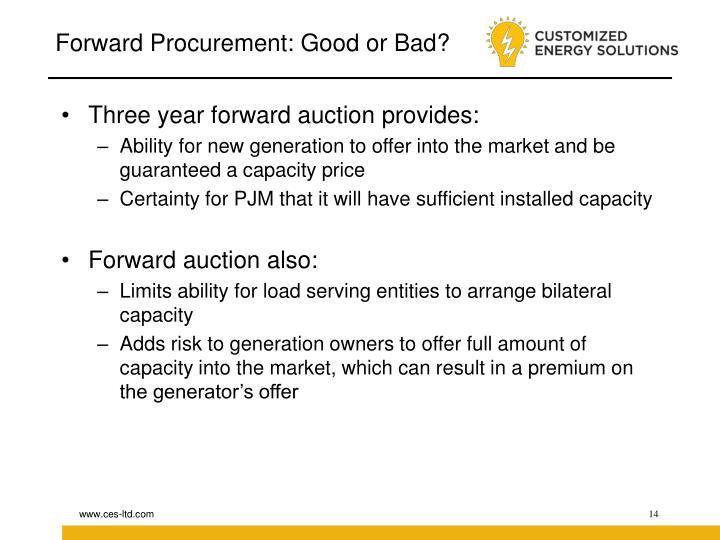 Forward Procurement: Good or Bad?