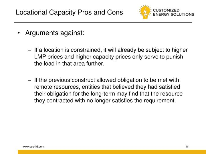 Locational Capacity Pros and Cons