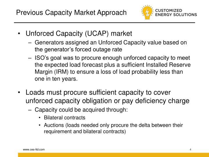Previous Capacity Market Approach
