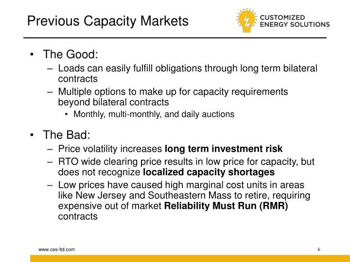 Previous Capacity Markets