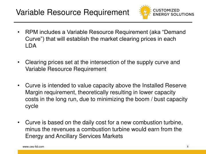 Variable Resource Requirement