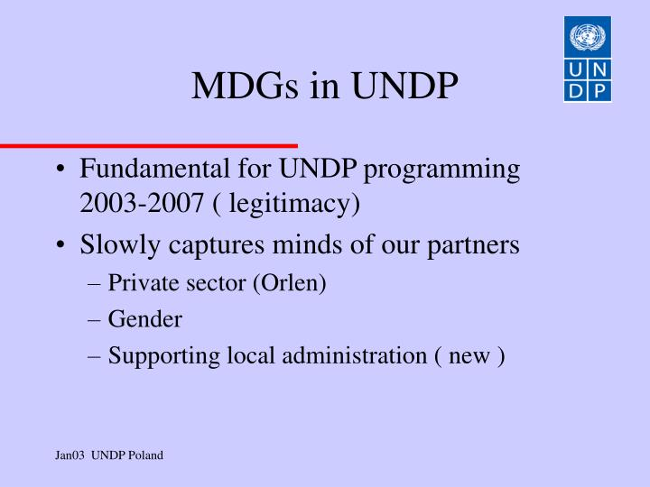 MDGs in UNDP