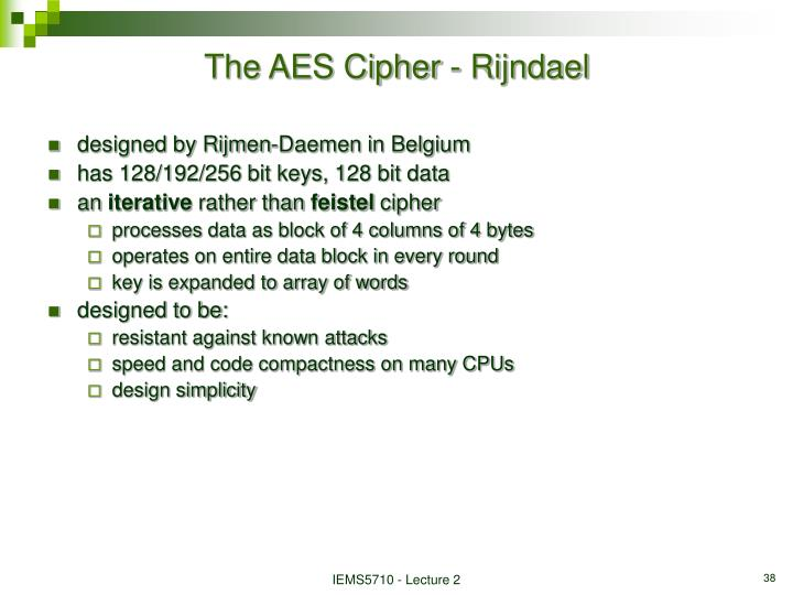 The AES Cipher - Rijndael