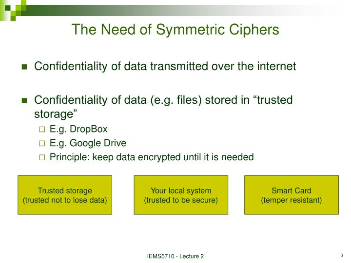 The need of symmetric ciphers
