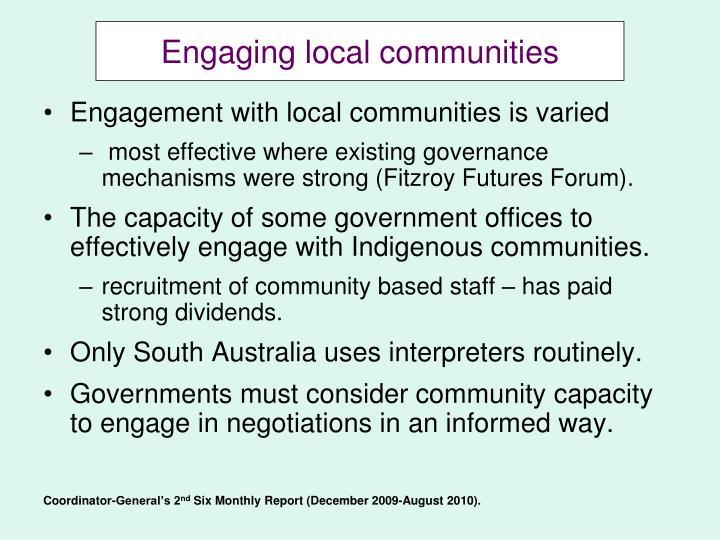 Engaging local communities