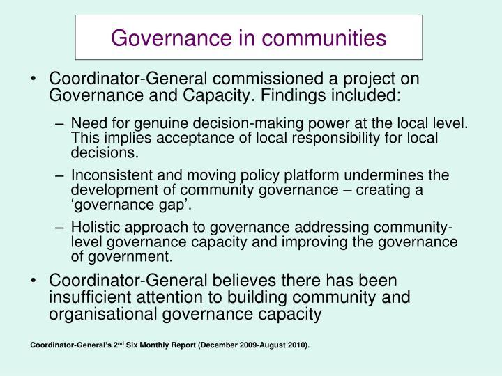 Governance in communities