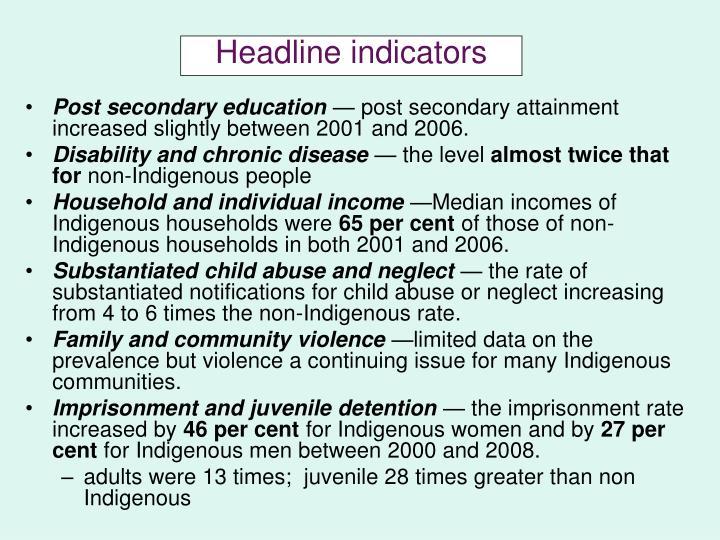 Headline indicators