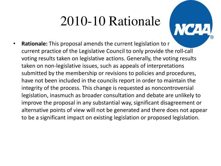 2010-10 Rationale